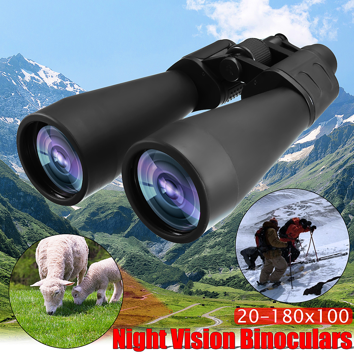 20-180x100 HD Zoom Binoculars Optic Low Light Level Night Vision Telescope Camping Travel