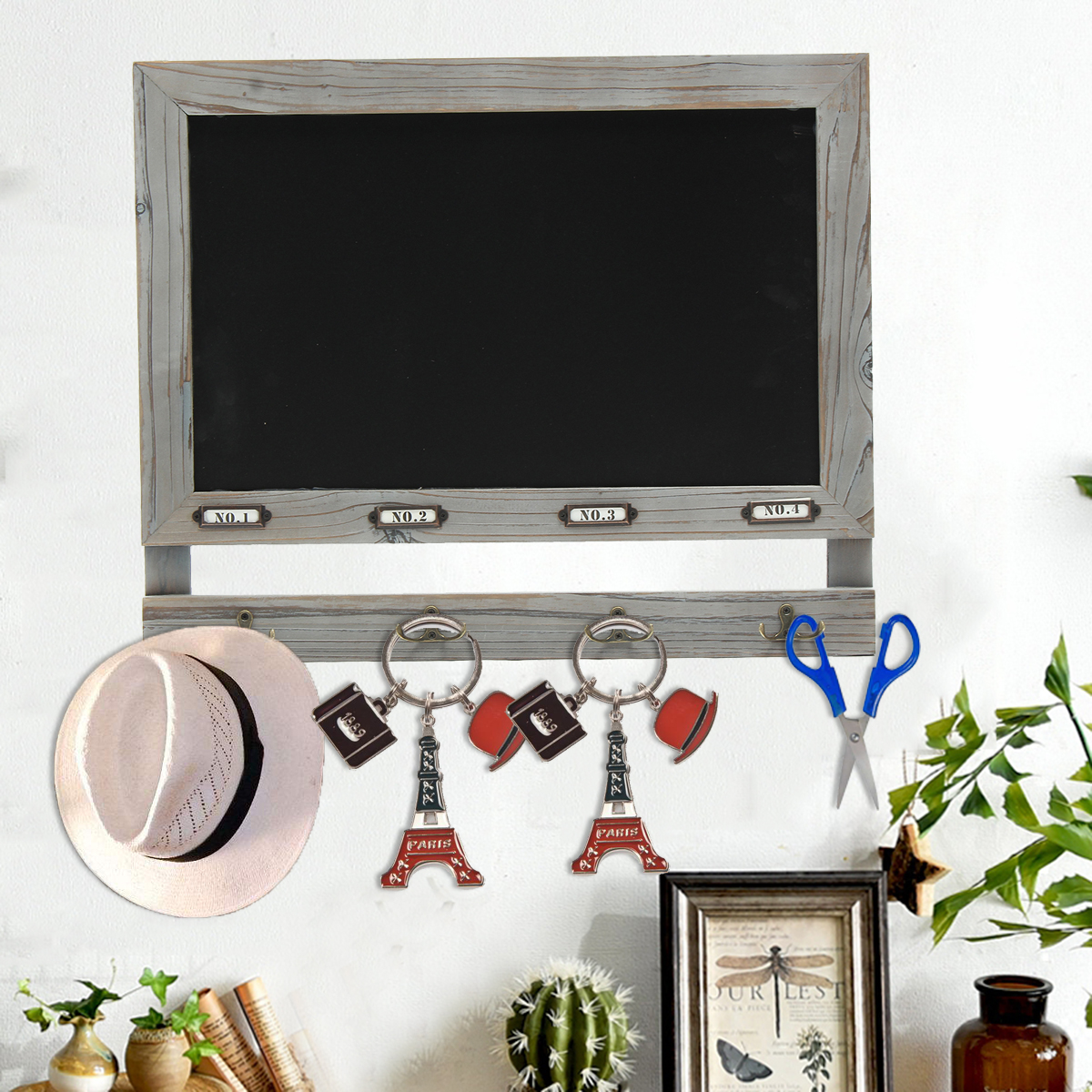 Rustic Framed Chalk Board Wall Mounted Vintage Memo Message Notice Menu Display Board w/ Hangers