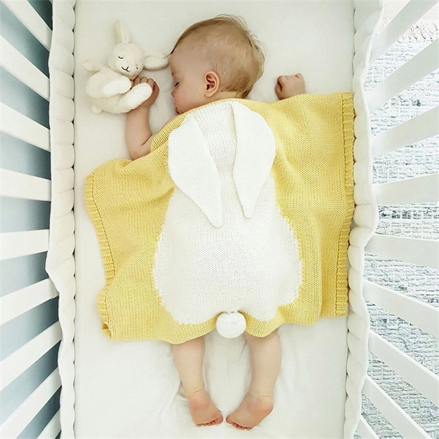 Honana HT-33 Cute Knitted Baby Blankets Infant Rabbit Soft Warm Wool Swaddle Kids Bath Towel Lovely Newborn Bedding Props Baby Blankets