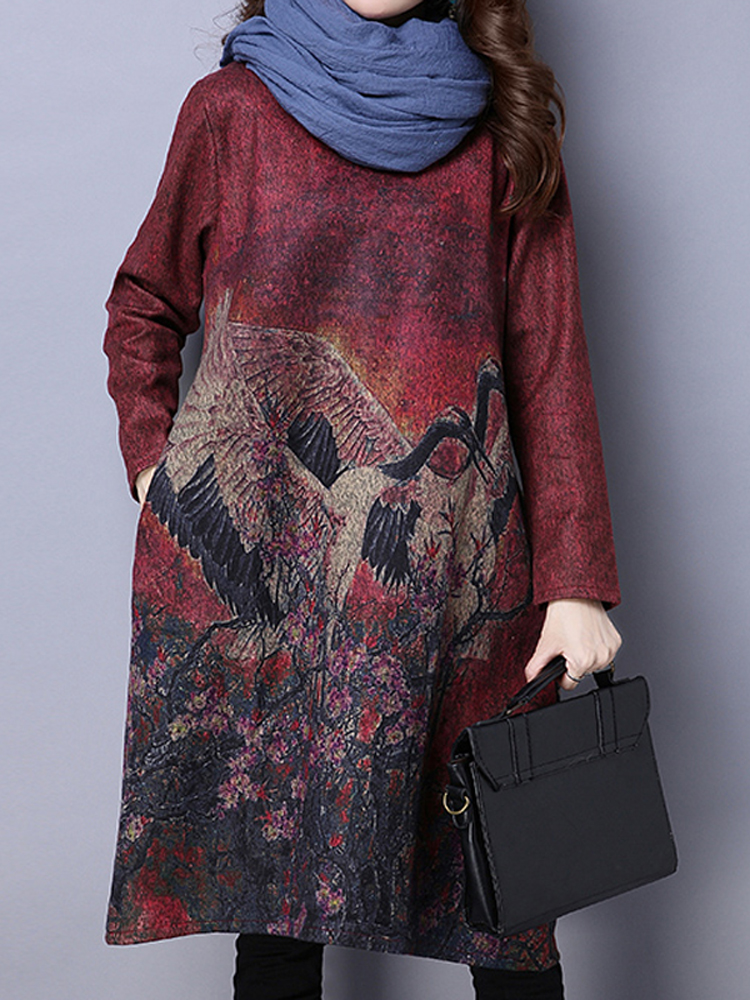 Vintage Printed Long Sleeve Loose Elegant Wool Dress