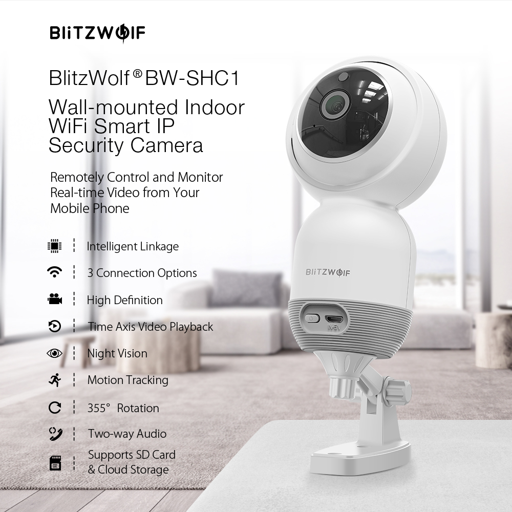 Blitzwolf® BW-SHC1 1080P Wall-mounted PTZ Indoor WiFi IP Camera Smart Home Security Monitor Work with Tuya Smart Life APP