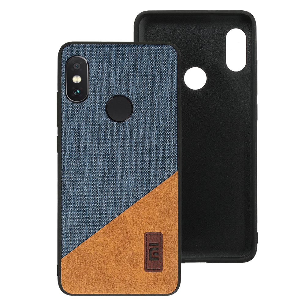 Bakeey Luxury Fabric Splice Soft Silicone Edge Shockproof Protective Case For Xiaomi Redmi Note 5