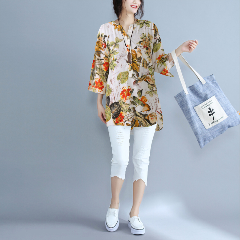Women Vintage Floral V Neck Buttons 3/4 Sleeve Casual Shirt