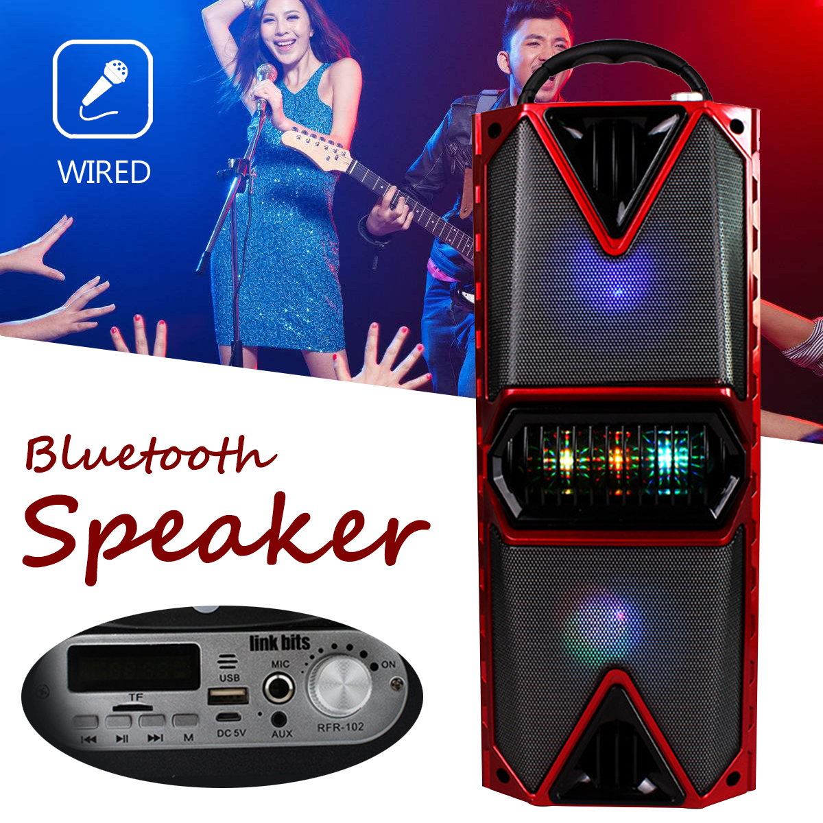 LED Wireless bluetooth Outdoor Car Loud Speaker Treble Bass Hi-Fi Stereo AUX TF