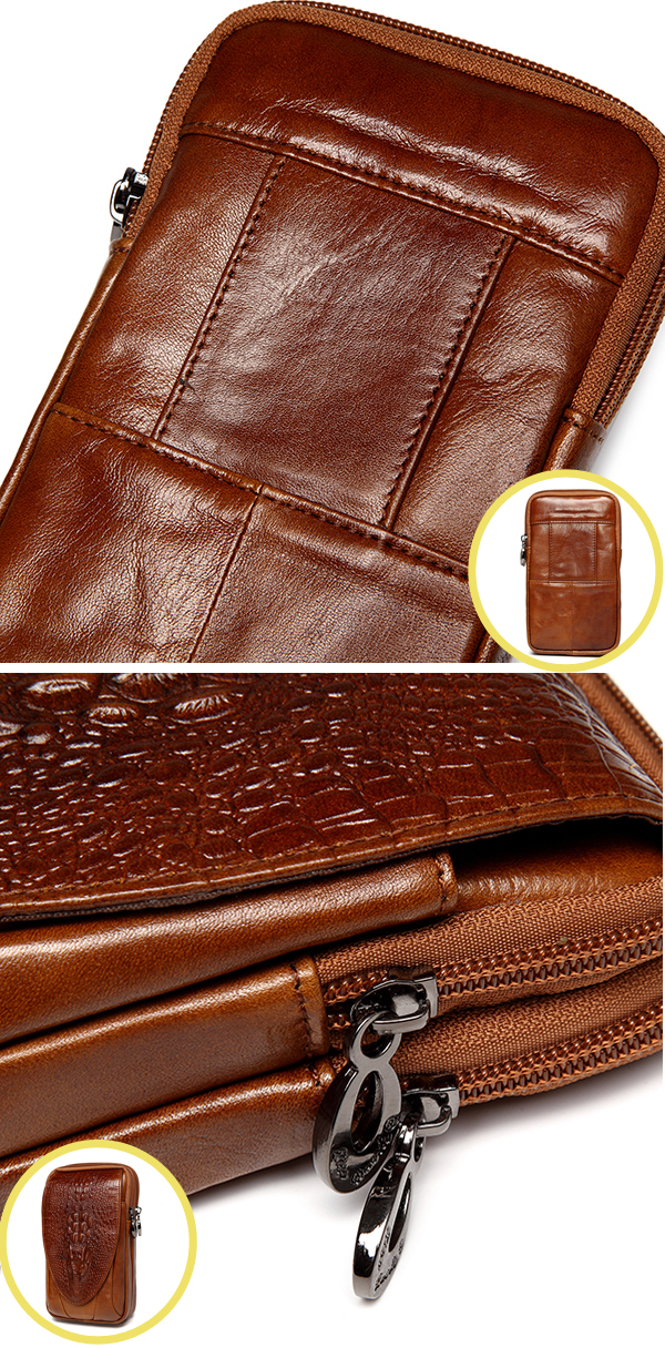 4.7 to 6 Inches Cell Phone Pouch Genuine Leather Waterproof Waist Pack For Men