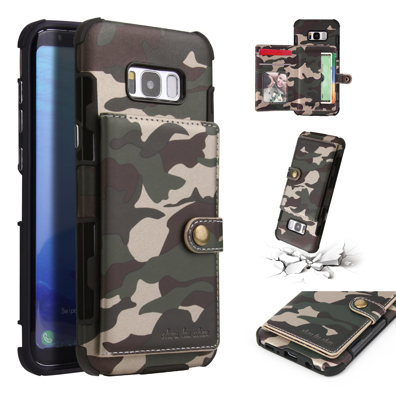 Camouflage Wallet Card Slots Protective Case For Samsun