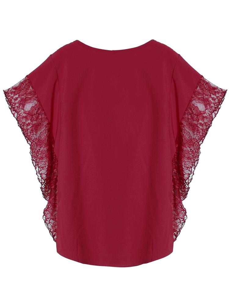 Casual Loose Women Lace Patchwork Batwing Sleeve Top T-Shirt