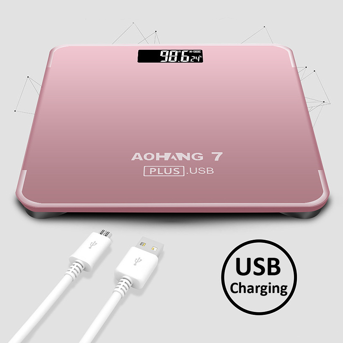 AOHANG 7 Plus USB Version 180kg LCD Electronic Digital Tempered Glass Body Weight Scale