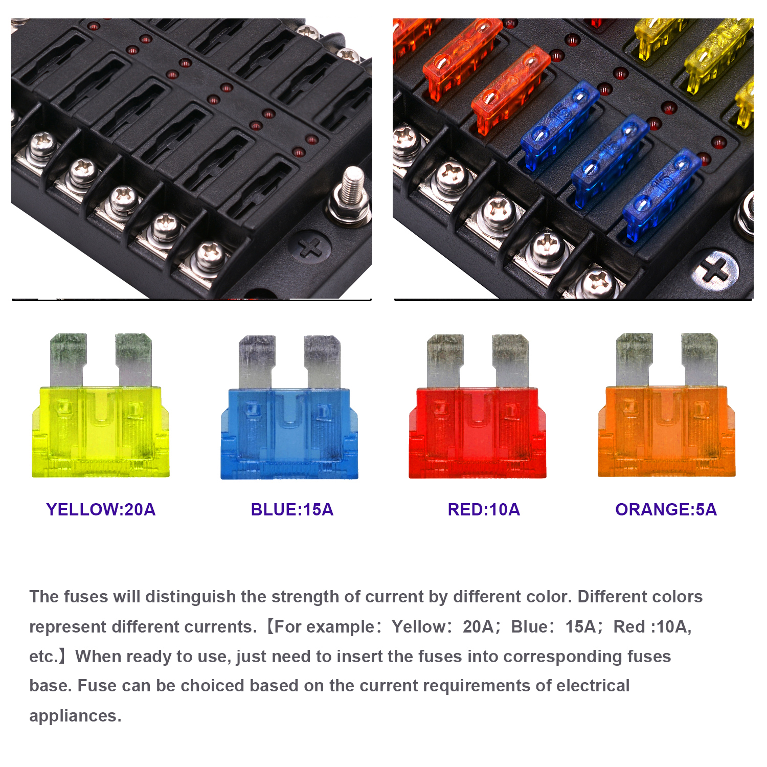 1 In 12 Out Way Car Fuse Box Power Plug Type Fuse Box Seat With LED Indicator