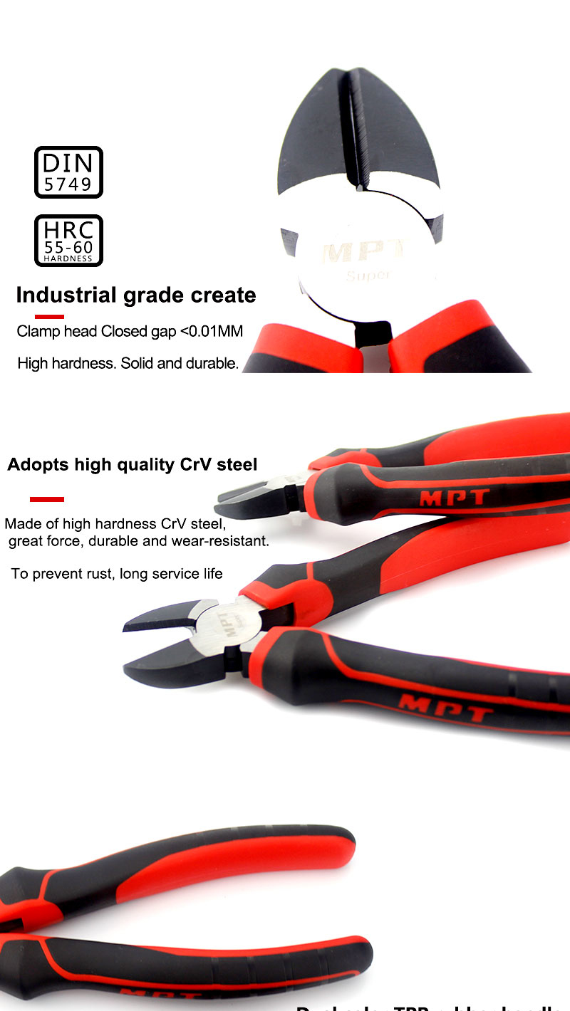 MPT CR-V Pliers 6/7Inch Jewelry Electrical Wire Cable Cutters Cutting Side Snips Hand Tools