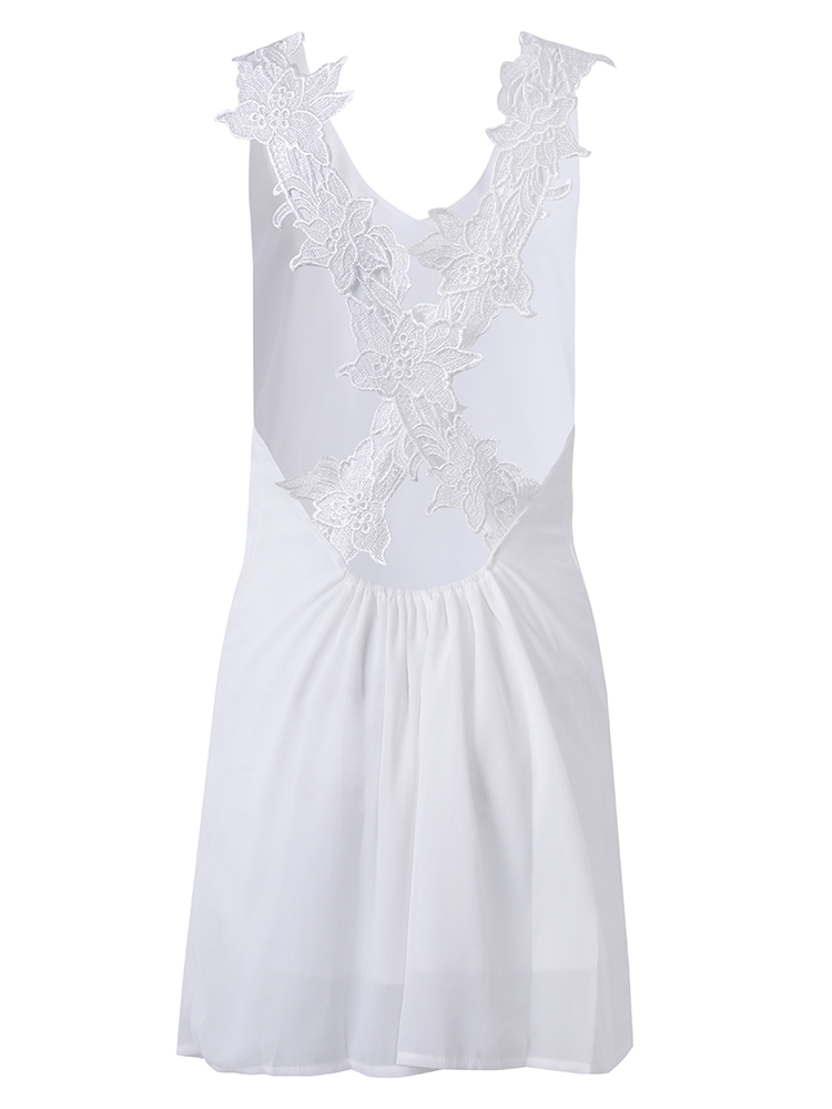Women Summer Sexy Lace Strap Chiffon Sleeveless Dress