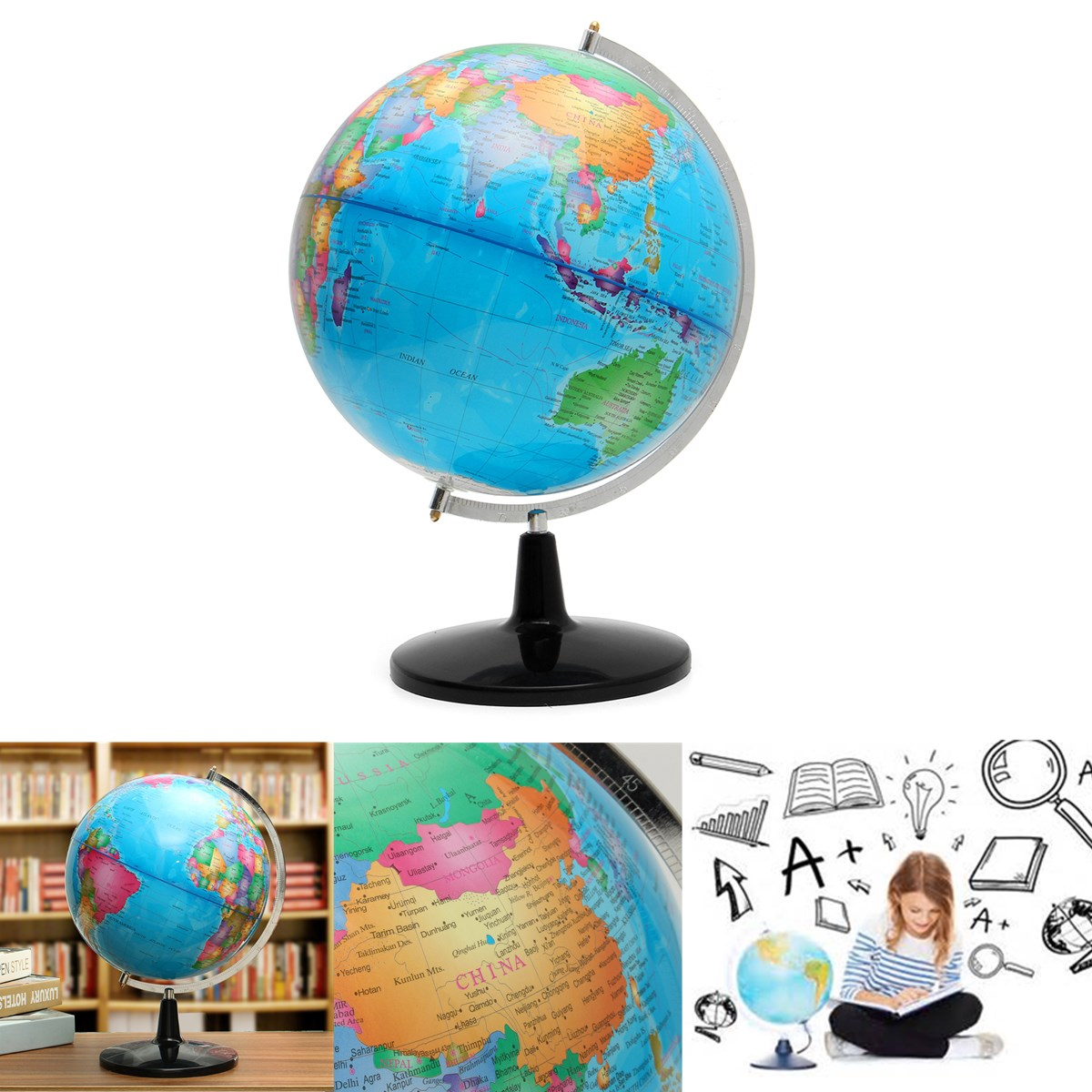World Globe Rotating Map Earth Atlas Geography Diameter 32 cm Sturdy Base