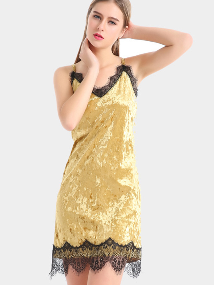 Sexy V-Neck Spaghetti Strap Lace Patchwork Yellow Velvet Mini Dresses