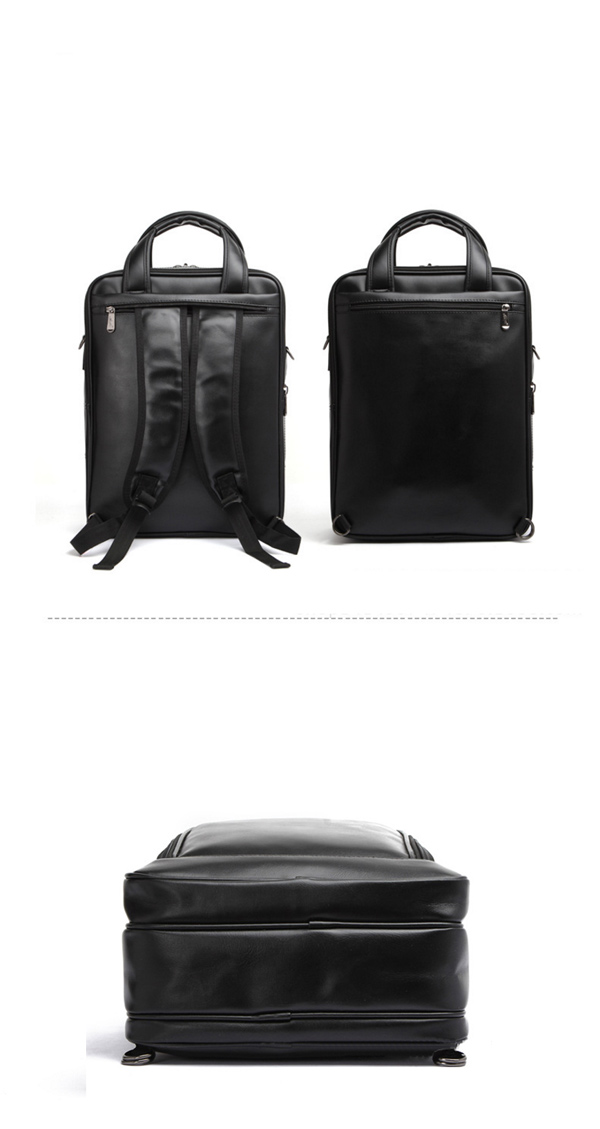Men Black Business Backpack 3 Compartments Laptop Bag Multifunction Briefcase