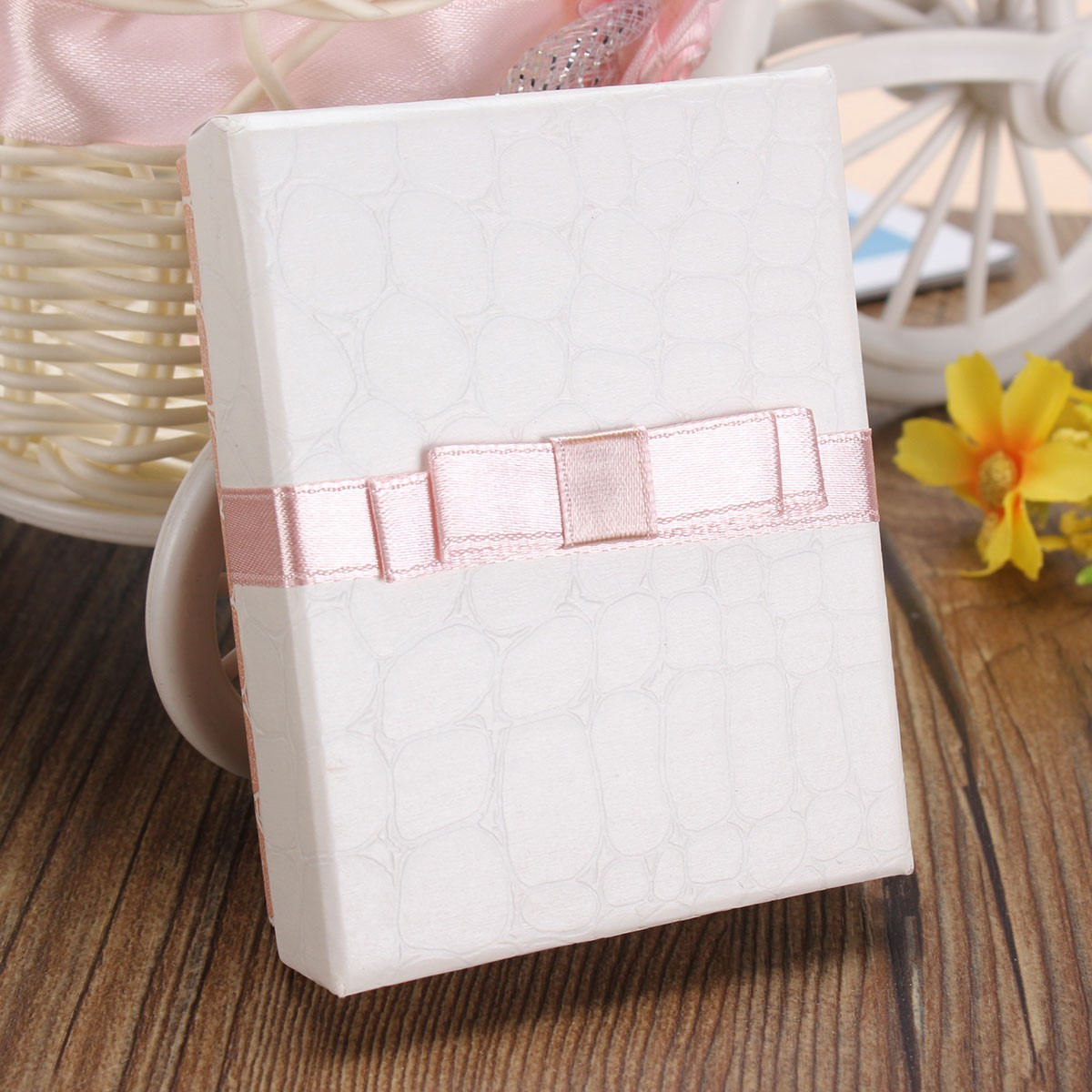 Paper Square Bowknot Necklace Jewelry Packaging Gift Box Storage Case