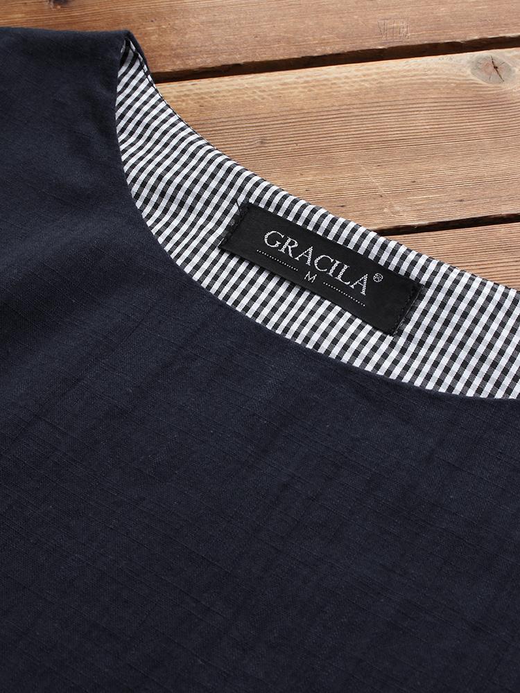 M-5XL Irregular Plaid Patchwork Long Sleeve Blouse