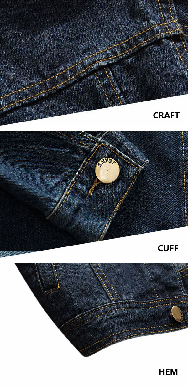 Mens Pop Fashion Slim Fit Single-breasted Denim Jacket Coat