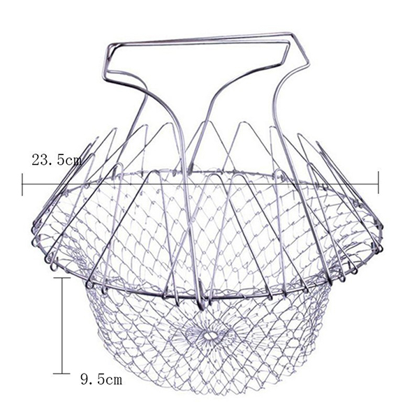 Stainless Steel Foldable Basket Fried Potato Chips Strainer Outdoor BBQ Picnic Storage Baskets
