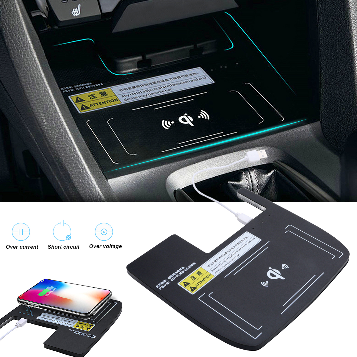 Console Storage Box Qi Wireless Charger Charging for Honda Civic 10th 2016-2018