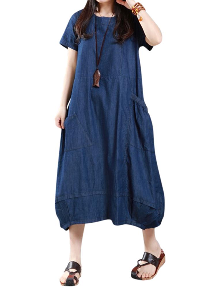 Casual Women Loose Denim Pockets Lantern Maxi Dress