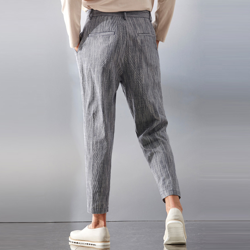 Mens Casual Slim S-3XL Polyester Straight Leg Pants