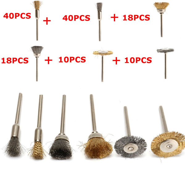 136pcs 3.175mm Shank Steel or Brass Wire Brush Pencil Brush For Dremel Rotary Tools