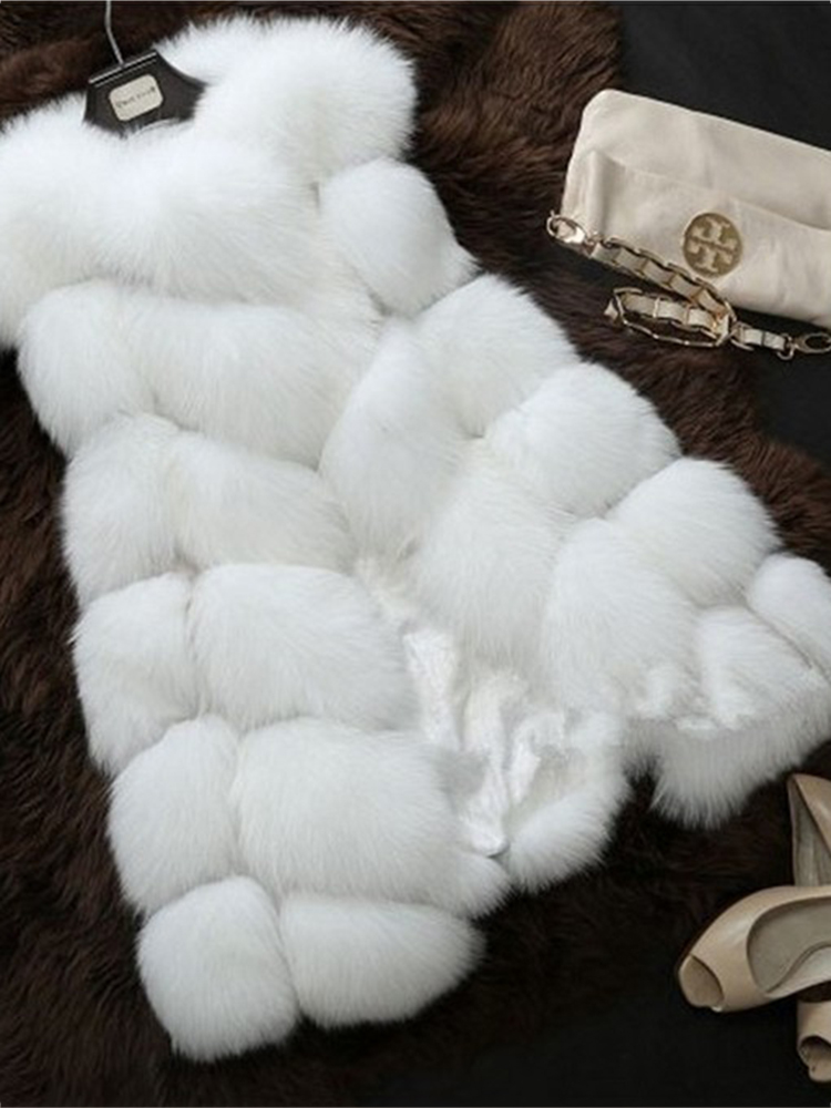 Elegant Women Faux Fur Sleeveless Coats