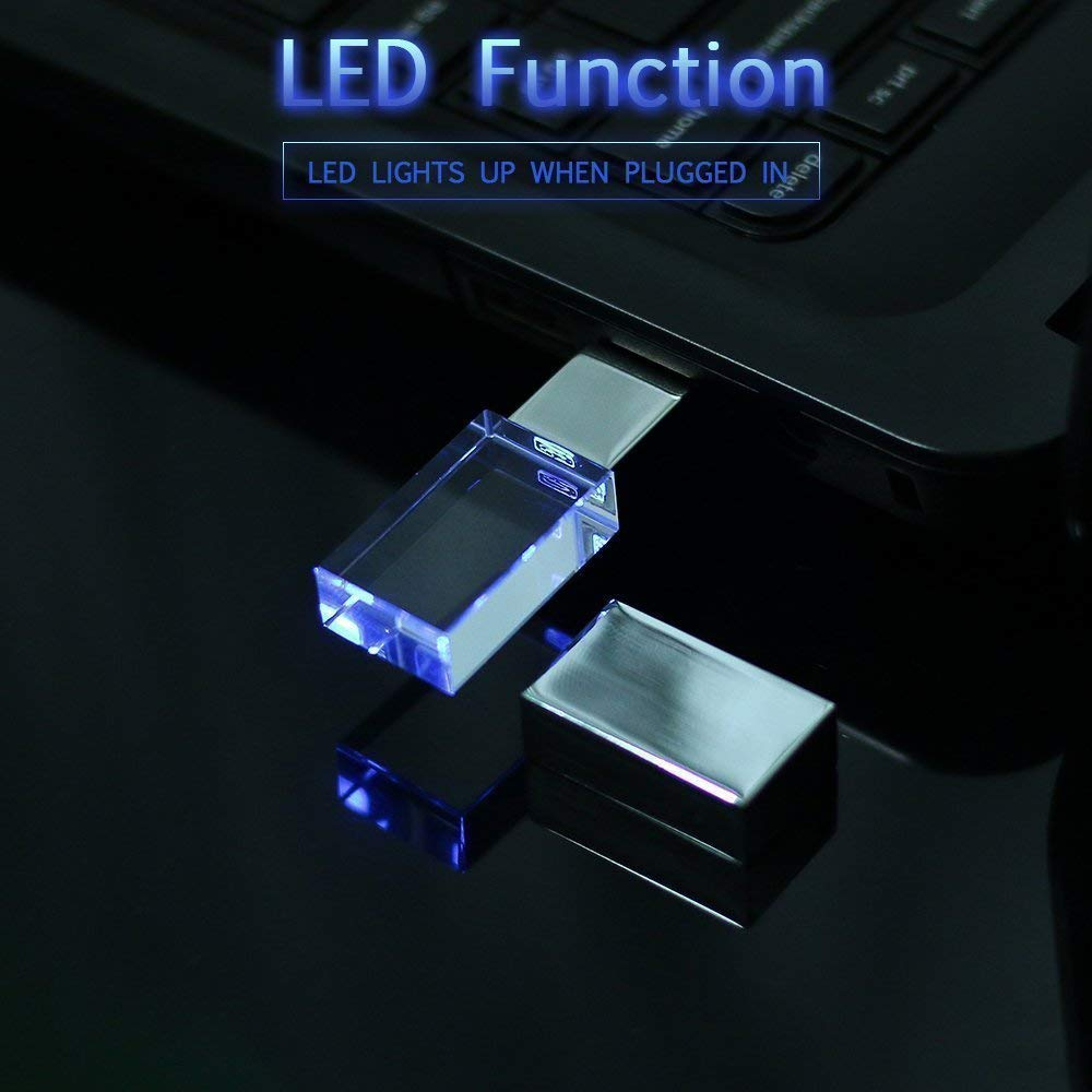 64GB USB Flash Drive Waterproof Memory Stick Thumb Drive Blue LED Light Pen Drive Crystal