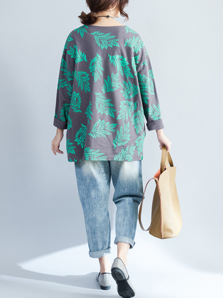Plus Size Casual Women Green Leaves Print Shirts