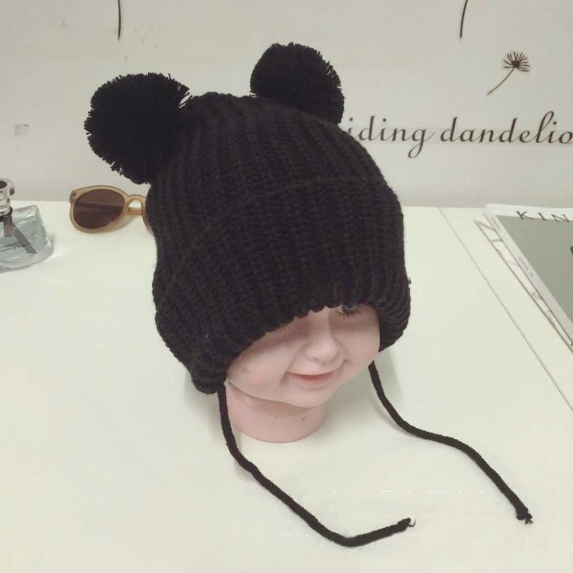 Children Baby Infant Toddler Solid Color Knit Hat Cute Hairball Beanie Cap