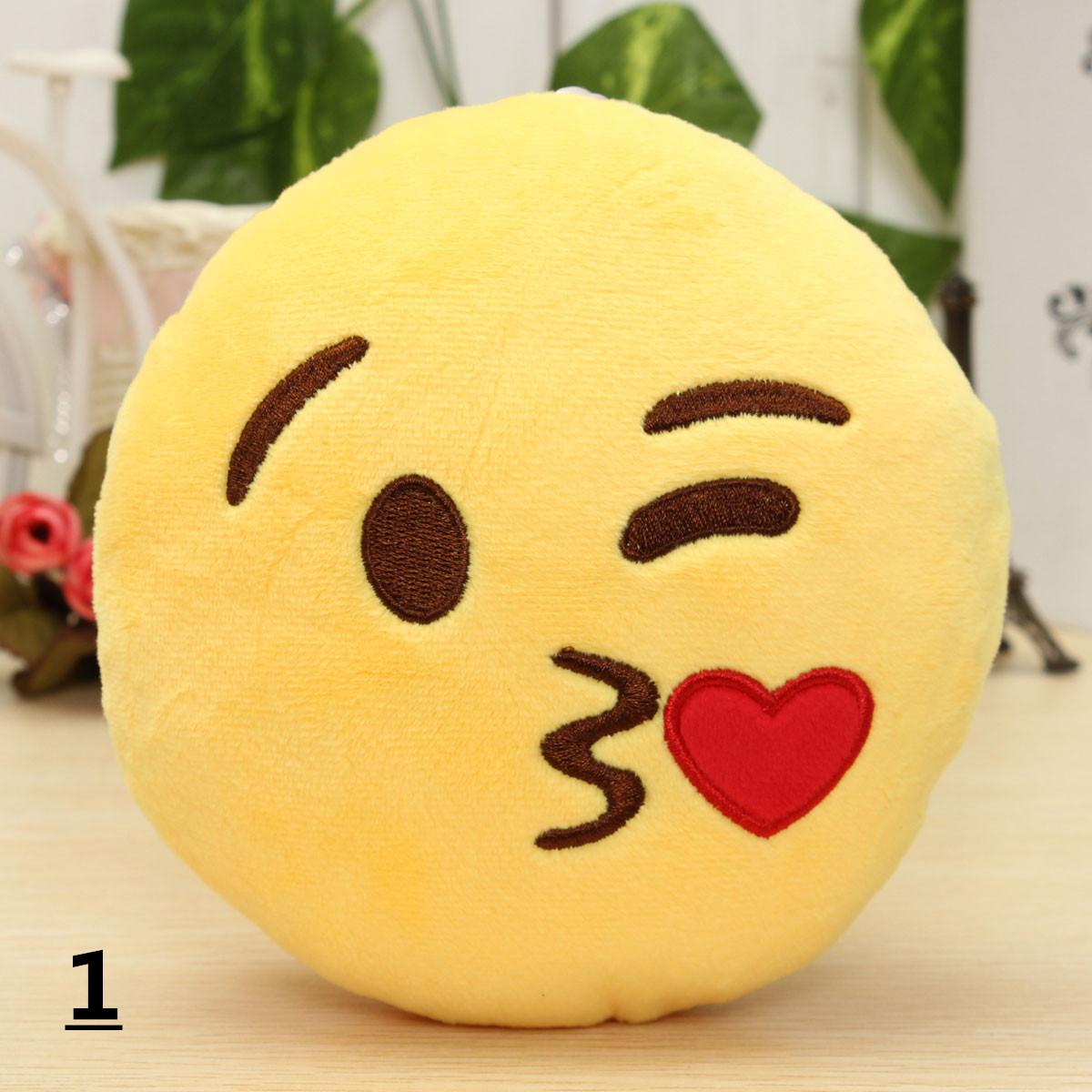 5.9'' 15cm Emoji Smiley Emoticon Stuffed Plush Soft Toy Round Cushion Ornament Decor Gift