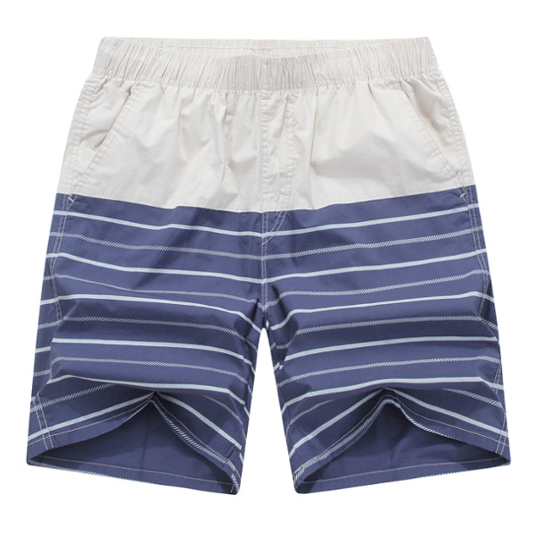 Summer Mens Beach Knee-Length Pants Casual Cotton Colorful Stripes Quick Drying Shorts