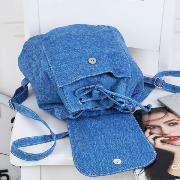 Women Casual Canvas Backpack Drawstring School Book Bags Rucksack