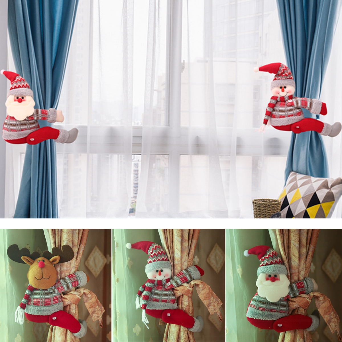 Christmas Curtain Tiebacks Window Curtain Buckle Holders Home Decorations Gift