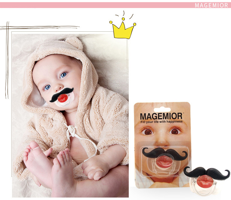 Red Lip Style Funny Moustache Baby Infant Pacifier Soother Teether Orthodontic Dummy Baby Nipple