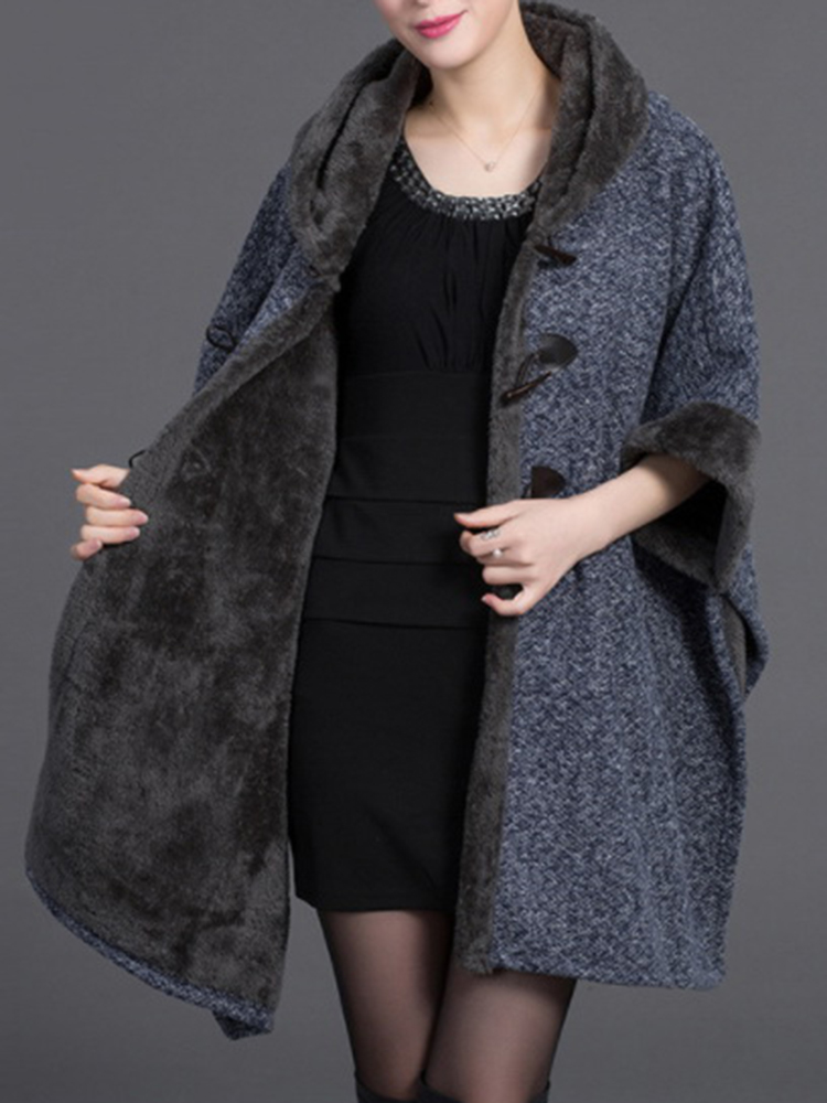 Elegant Women Cloak Shawl Hooded Crew Neck Cardigan Coats
