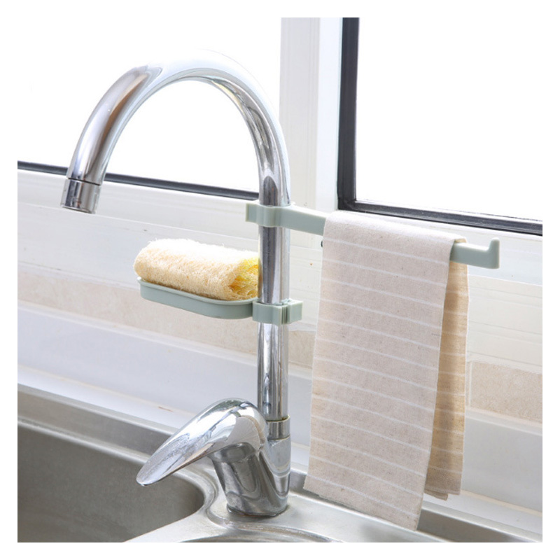 Sink Pendant Storage Sponge Holder Faucet Clip Dish Rack Drain Shelf Towel Dry Organizer
