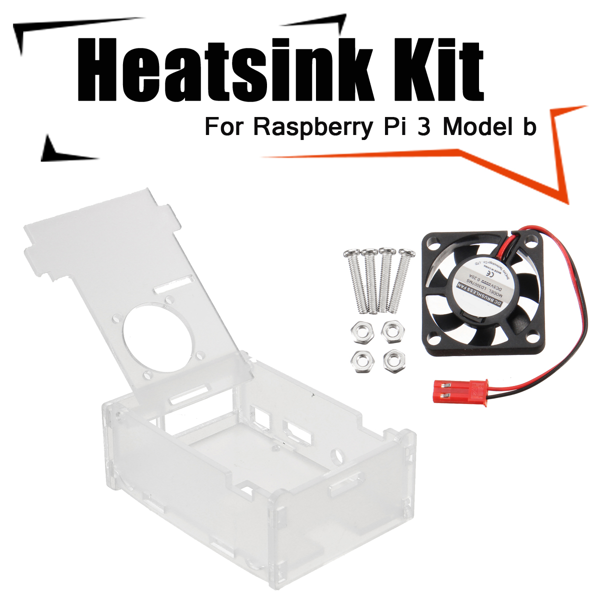3x Heat Sinks + Cooling Fan + Clear Enclosure Case Box For Raspberry Pi 3 Model b