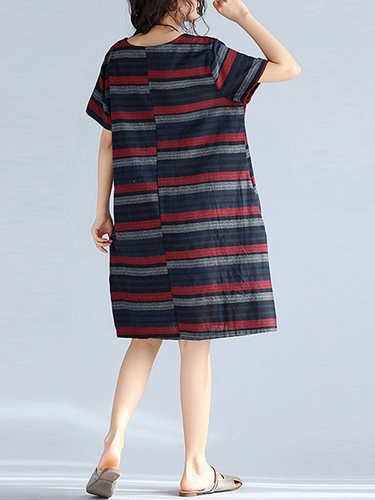Retro Striped O-neck Short Sleeve Dress