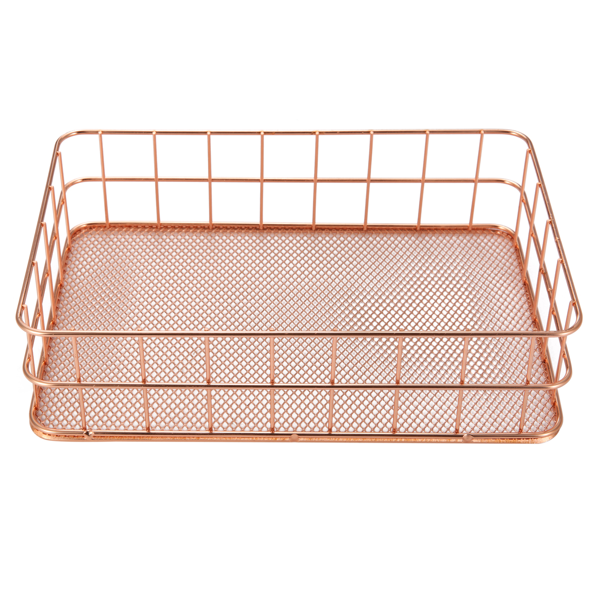 24X16X6cm Elegant Rose Gold Square Iron Desktop Storage Case Organizer for Office Home