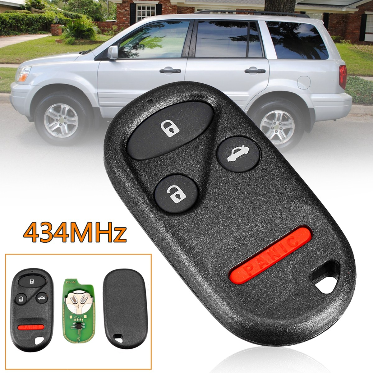 434MHz 4 Buttons Remote Key Fob Case Shell&Battery for Honda Civic Accord