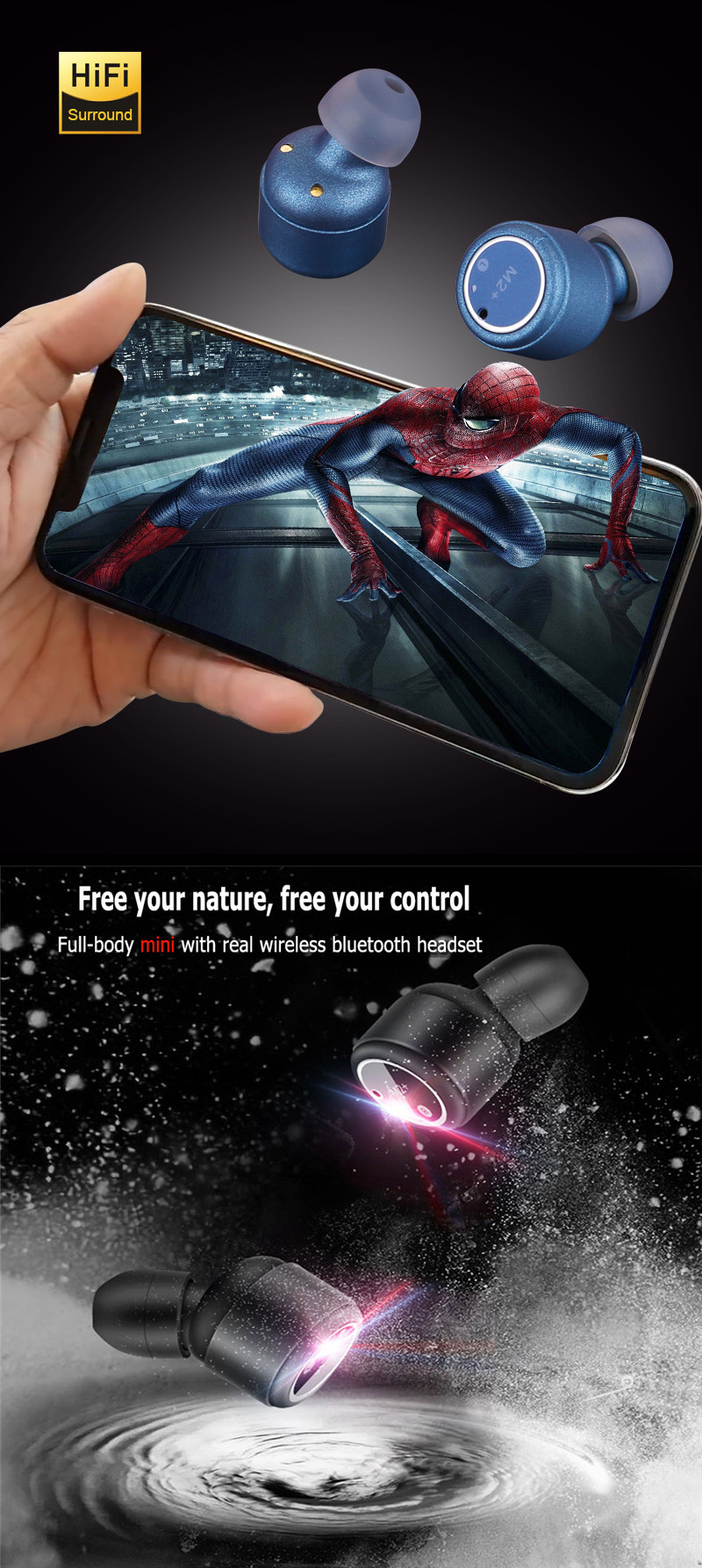 Bakeey M2+ Touch Control True Wireless Dual bluetooth 5.0 Earbuds Stereo Waterproof Binaural Call Cordless Handsfree Earphone With Rotating Charging Box for Iphone X XS Xiaomi