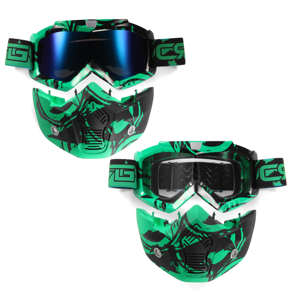 Motorcycle Helmet Detachable Modular Mask Shield Goggles Full Face Protect Clear Light Green Lens