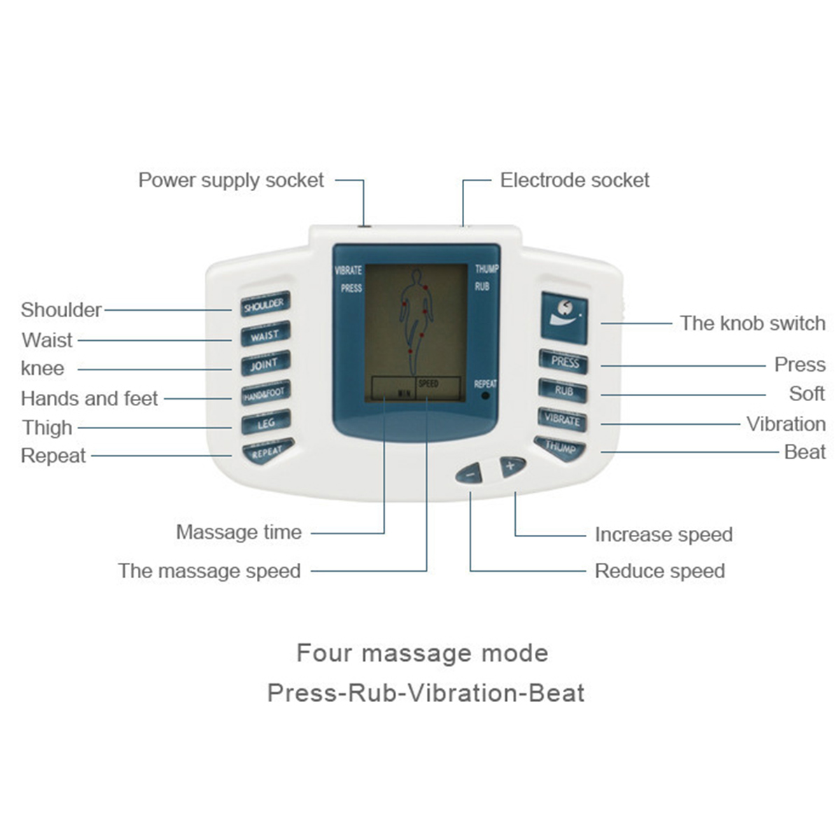 Rechargeable TENS Unit Muscle Stimulator Machine Reusable TENS Electrodes Pads Pain Relief Acupuncture Therapy Machine