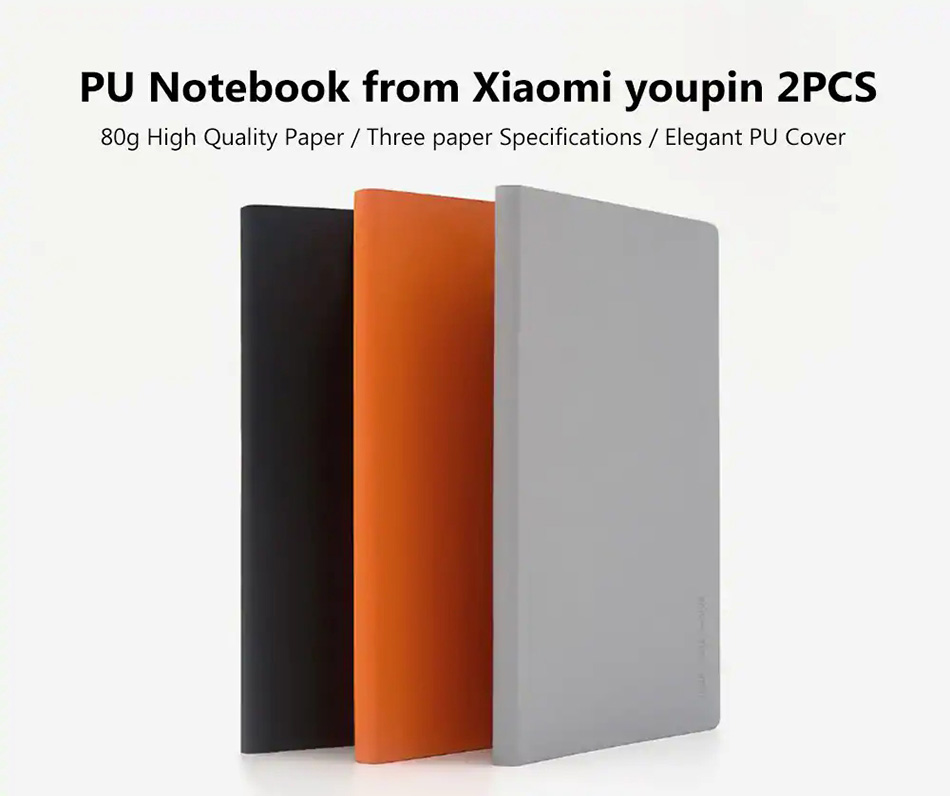 2pcs Xiaomi Noble Paper NoteBook PU Cover Slot Book for Office Travel with a Gift Notebook