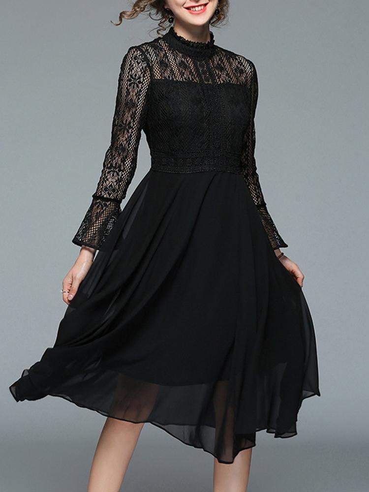 Elegant Women Lace Patchwork Dress