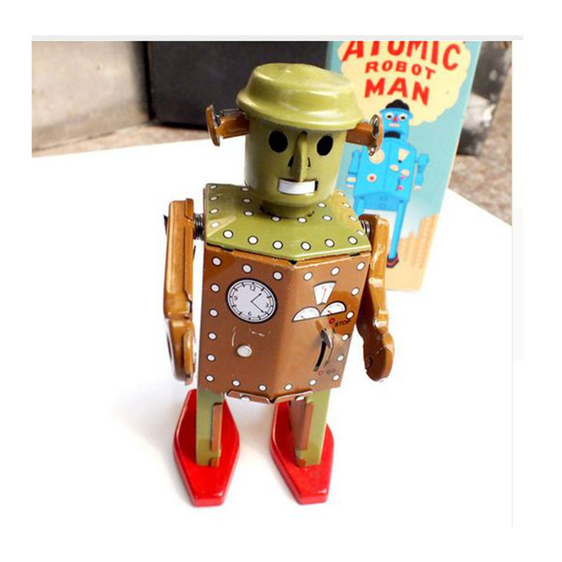 Classic Vintage Clockwork Wind Up Retro Robot Photography Children Kids Tin Toys With Key