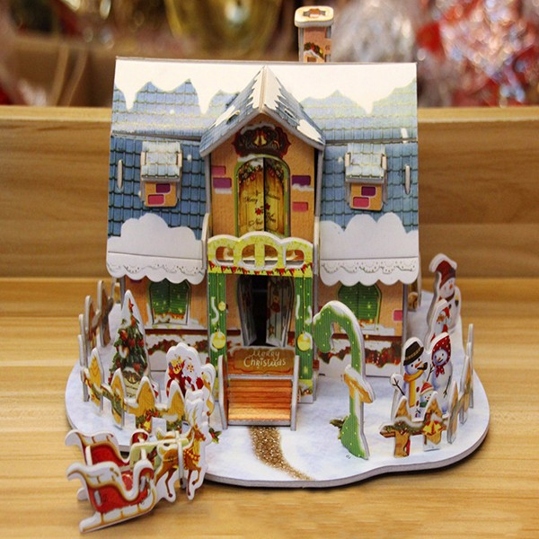 DIY Building Puzzle Model Christmas Decoration DollHouse Educational Toy For Children Christmas Gift