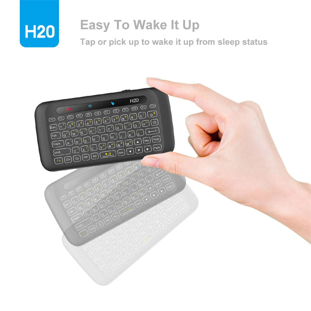 H20 2.4G Wireless Backlight Whole Panel Touchpad IR Learning Keyboard Air Mouse For Windows/Android