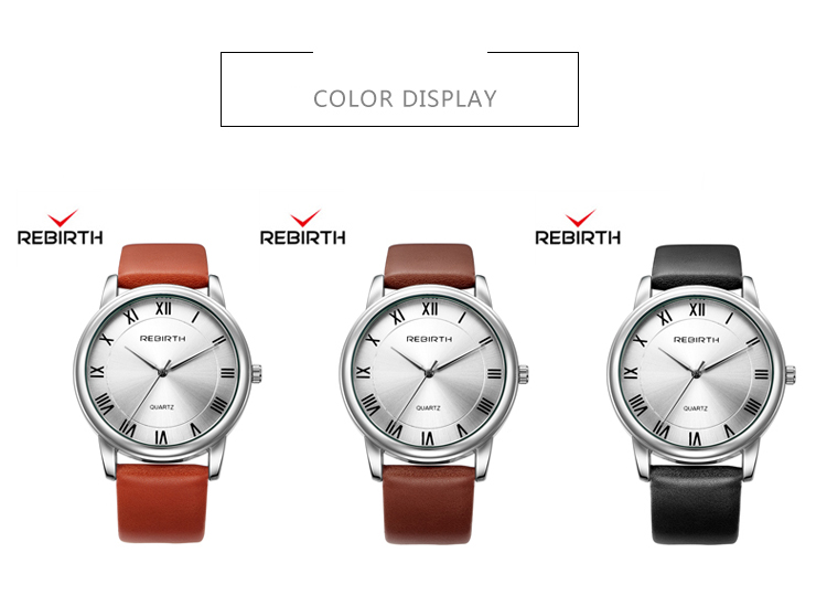 REBIRTH RE043 Casual Style Ultra Thin Female Watch Leather Strap Quartz Movement Watch